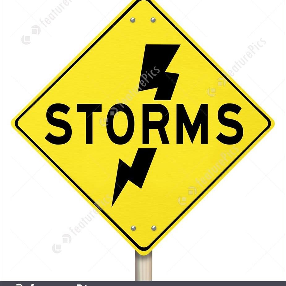 Yellow warning sign with STORMS and a lightning bolt